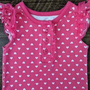 Garanimals Pink Heart Ruffle Onesie Bodysu…